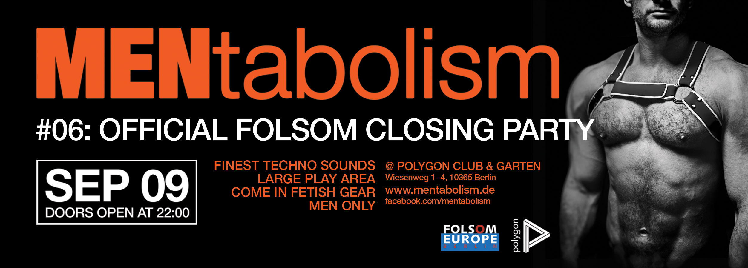 Folsom Europe Closing party, Fetish gear, Sept. 9th, Doors open at 22:00